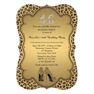 Birthday Party 46th,Cheetah High Heels Shoes Card