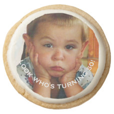 Birthday Party 50th Personalized Round Shortbread Cookie