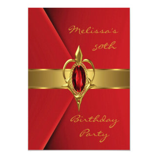 Birthday Party 50th Velvet Red Pearl gold jewel 5x7 Paper Invitation Card