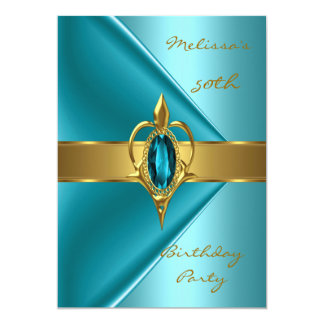 Birthday Party 50th Velvet Teal Pearl gold jewel Card