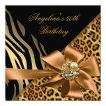 Birthday Party 50th Zebra Leopard Gold Black 5.25x5.25 Square Paper Invitation Card