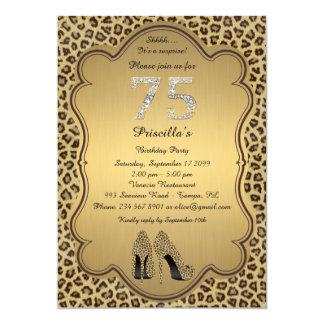 Birthday Party , 75th,Cheetah High Heels Shoes Card