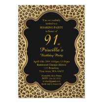 Birthday Party 91st,Cheetah, Black & Gold Card