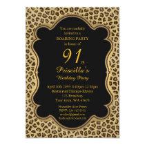 Birthday Party 91st,Cheetah, Black & Gold Invitation