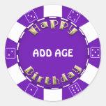 Birthday Party add age poker chip sticker