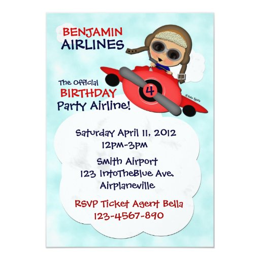 "Birthday Party Airlines Invitation 5"" X 7"" Invitation Card"