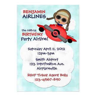 Birthday Party Airlines Invitation