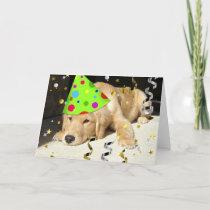 Birthday Party Animal Golden Retriever Card