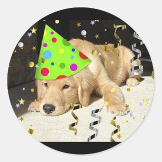 Birthday Party Animal Golden Retriever Classic Round Sticker