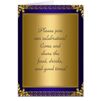 Birthday Party Announcement Royal Blue Card