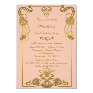 Birthday Party Any age, Gatsby style, peach & gold Card
