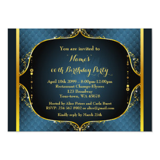 birthday party any age great gatsby styleblue card - Gatsby Party Invitation