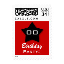 Birthday Party ANY Year Black Star V03 Postage