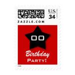 Birthday Party ANY Year Black Star V03 Stamps