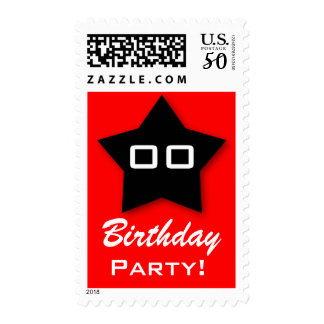Birthday Party ANY Year Black Star with Red V03B Postage