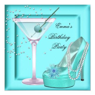 Birthday Party Aqua Teal Blue Turquoise Martini 5.25x5.25 Square Paper Invitation Card