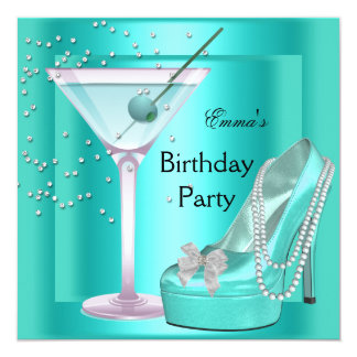 Birthday Party Aqua Teal Blue Turquoise Shoes 5.25x5.25 Square Paper Invitation Card