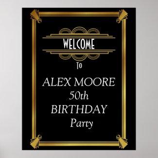 Birthday party art deco poster
