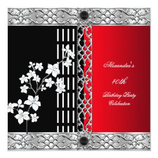 Birthday Party Asian Red Black Cherry Blossoms Card