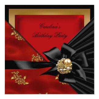 Birthday Party Asian Red Gold Black Bow Card