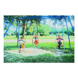 BIRTHDAY PARTY AT THE PARK 6 SWING SET PRINT