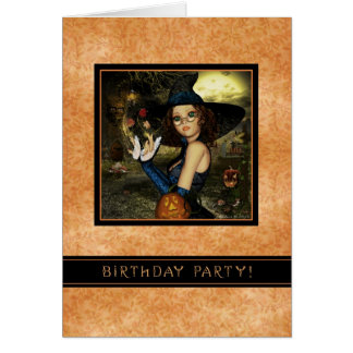 Birthday Party - Autumn Witch Personalized Invite