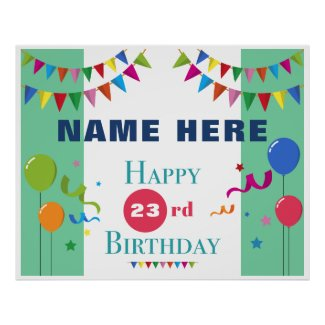 Birthday Party Backdrop (Light Green) Poster