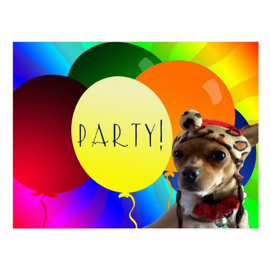 Birthday Party Ballon invitiation Postcard