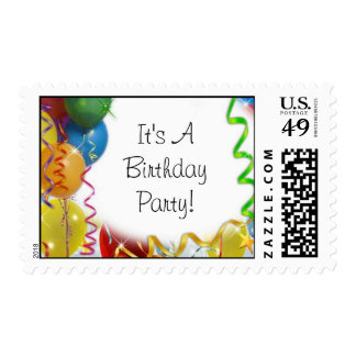 Birthday Party Balloon s Postage Stamps