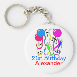 Birthday Party-Balloons 21st Personalize It! Basic Round Button Keychain