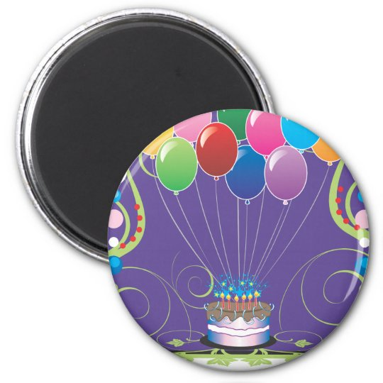 Birthday Party Balloons 2 Inch Round Magnet
