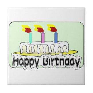 Birthday Party Balloons Cake Candles Destiny Ceramic Tile