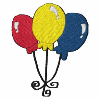 Birthday Party Balloons Embroidery Pattern Polo Shirt