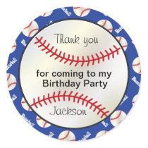 Birthday Party Baseball in Dark Blue - Thank you Classic Round Sticker