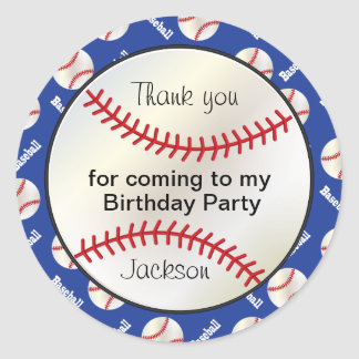 Birthday Party Baseball in Dark Blue - Thank you Classic Round Sticker