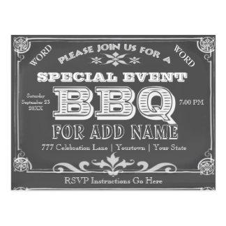 Birthday Party   BBQ   Vintage Chalkboard Postcard