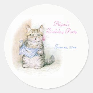 Birthday, Party Beatrix Potter, Custom Classic Round Sticker