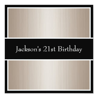 Birthday Party Beige Fine Stripes Black & White Card