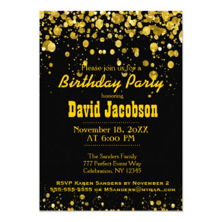 Birthday Party | Black and Gold 5x7 Paper Invitation Card