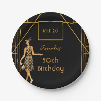 Birthday party black gold Gatsby 1920's art deco Paper Plate
