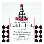 Birthday Party Black & Pink with Argyle Party Hat Personalized Invitation
