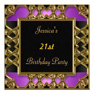 Birthday Party  Black Purple Gold Invites
