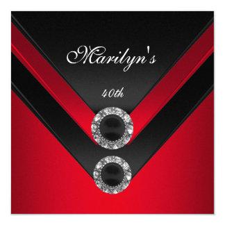 Birthday Party Black Red Diamond Jewel Card