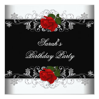 Birthday Party Black Red Rose White Flowers 5.25x5.25 Square Paper Invitation Card