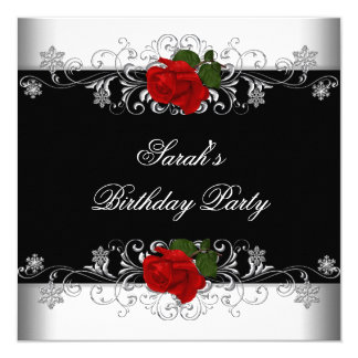 Birthday Party Black Red Rose White Flowers Invitation