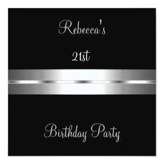 Birthday Party Black Silver Card