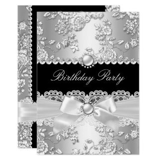 Birthday Party Black White Damask Rose Silver 2 Card