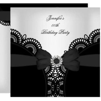 Birthday Party Black White Lace Diamond Top Card