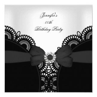 Birthday Party Black White Lace Diamond Top 5.25x5.25 Square Paper Invitation Card