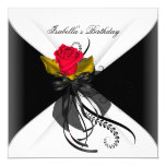 Birthday Party Black White Red Rose 5.25x5.25 Square Paper Invitation Card